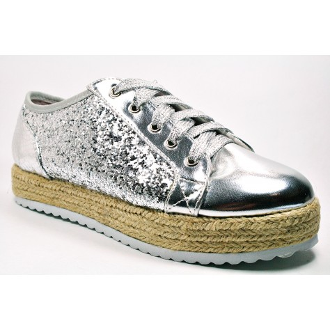 Los mustang 31 Glitter Zapatos Zapatilla Candela 38 T De Plata 1nYSw14qT