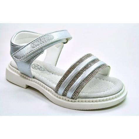 Sandalia de niña plata con velcro de Crecendo